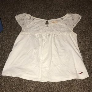 Large white lace babydoll top Hollister